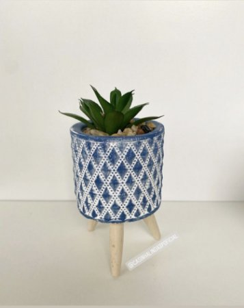 Mini Vaso Concreto Com Suculenta e Suporte Madeira Azul