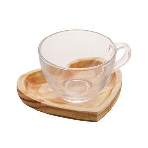 Jogo 6 Xícaras Chá com Pires Coração Madeira Pinus Rústica 190ml 13467