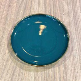 Prato Pequeno Cerâmica Verde Escuro com Filete Dourado 15cm
