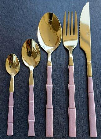 Jogo de Talheres 5 Peças Inox Bambu Elegant Rosa e Dourado