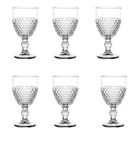 Jogo 6 Taças para Água Vidro Coração 330ml 1705