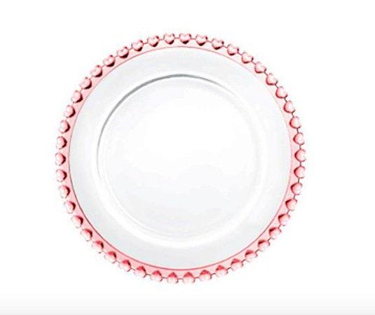 Prato Raso de Cristal Coração Borda Rosa 28cm 1685
