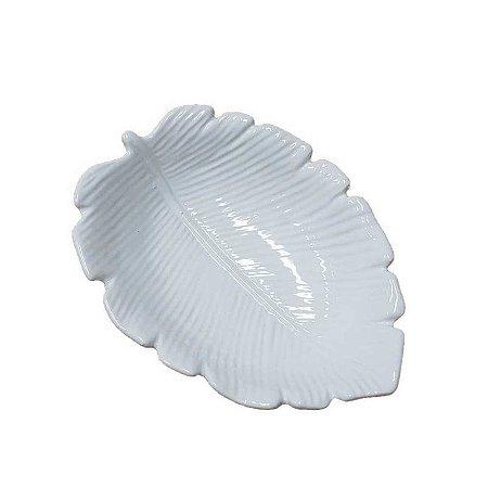 Travessa de Cerâmica Banana Leaf Branco Pequeno 16x12x4cm 4509