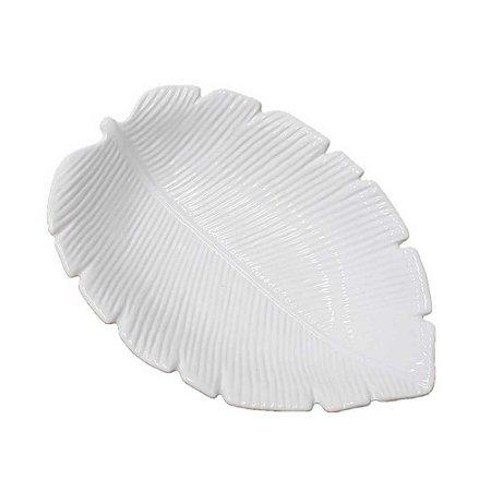Travessa de Cerâmica Banana Leaf Branco Médio 23x16x4,5cm 4510