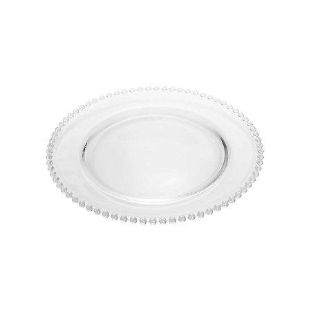 Prato Raso de Cristal Pearl Bolinhas 28cm 2671