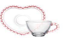 Xícara para Café com Pires Borda Coração Rosa 80ml 1682