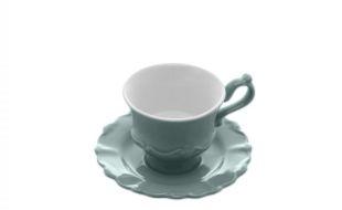 Cj 6 Xícaras Café Porcelana com Pires Fancy Menta 90ml 17736
