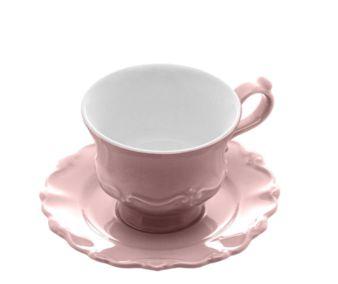 Cj 6 Xícaras Chá Porcelana com Pires Fancy Rosé 200ml 17747