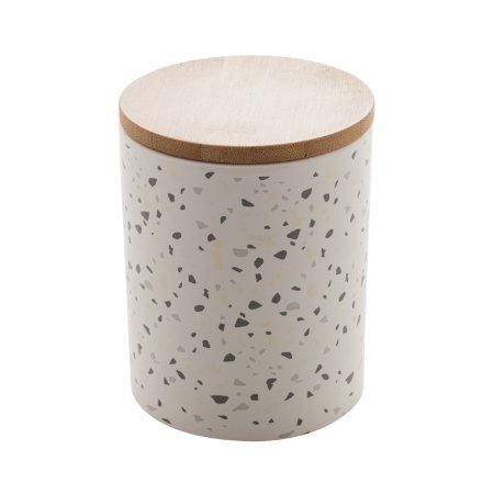 Potiche Cerâmica Granilite com Tampa Bambu Branco 13cm 8674