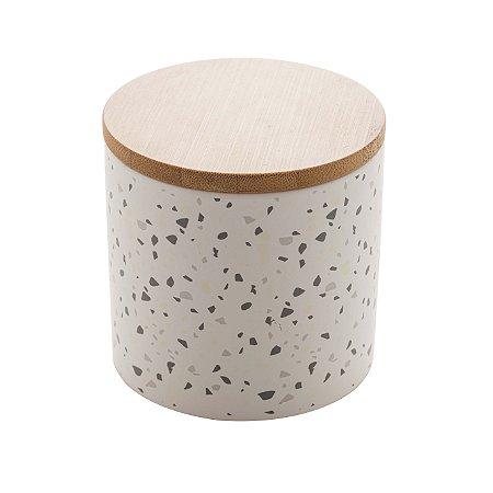 Potiche Cerâmica Granilite com Tampa Bambu Branco 10cm 8675