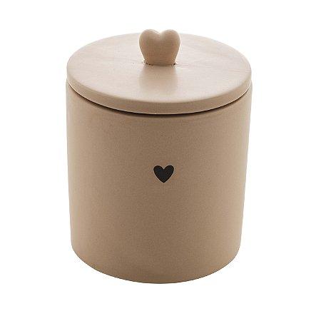 Potiche Cerâmica Heart Bege 12cm 8679