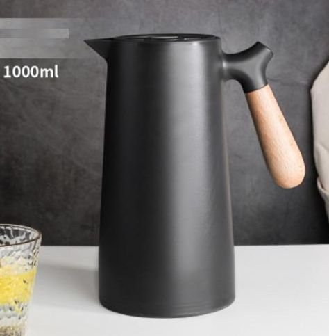 Garrafa Térmica Plástico Cabo Madeira Nórdica Preta 1 Litro