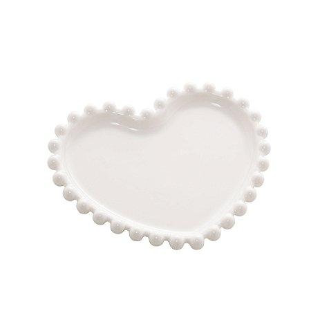 Conj 4 Pratos Pequenos Porcelana Beads Branco 12cm 28491