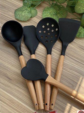 Kit 5 Utensílios Bambú Com Silicone Charmy Preto Lyor
