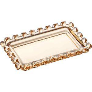 Mini Travessa Retangular Cristal Borda Coração Âmbar 10,5cm 1720