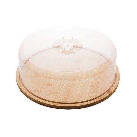 Prato para Bolo de Bambú com Tampa em Plástico 28cm 1362