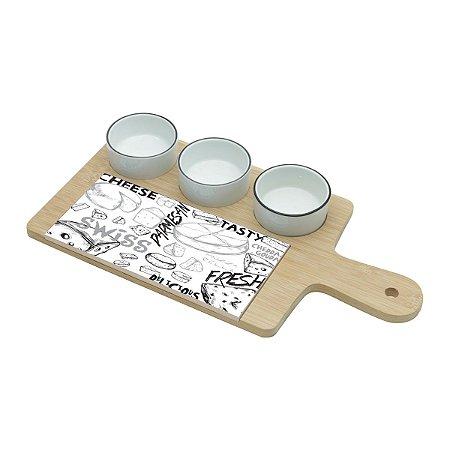 Cj Tábua para Queijo e Petiscos 4 peças Bambú Cheese Design 7153