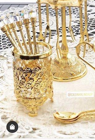 Conjunto com 6 Colheres Douradas de Zamac com Suporte Dourado de Zamac 3765