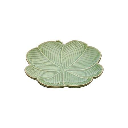 Folha decorativa cerâmica Banana Leaf verde 20x20x3cm