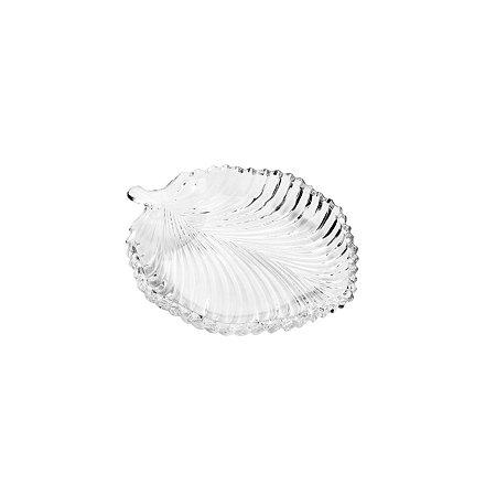 Prato Decorativo de Cristal Leaf 20,5x17x2,5cm 7242