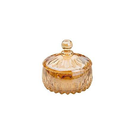 Potiche Cristal Louise Âmbar Pequeno 11x11cm Wolff 35196