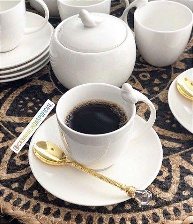 Jogo Xicaras Porcelana P/Cafe C/Pires 6 Xícaras e 6 Pires Birds 85ml Wolff