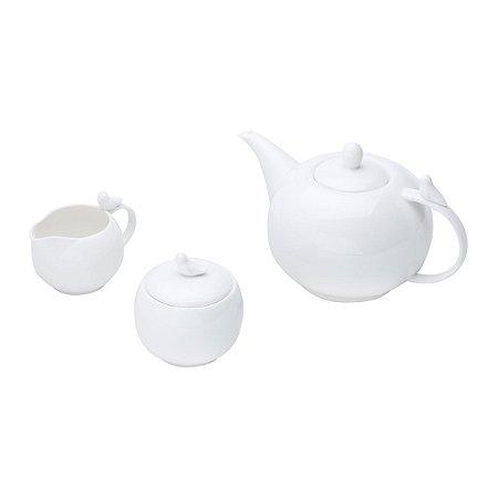 Conj 3 Peças para Café Porcelana Birds Branco 17238