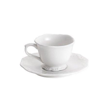 Jogo 6 Xícaras Porcelana Café com Pires Alto Relevo 100ml 25092