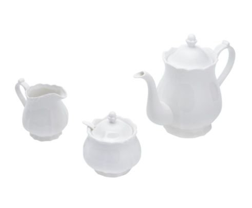 Jogo 03 Peças para Chá ou Café Porcelana Fancy Branco 17275