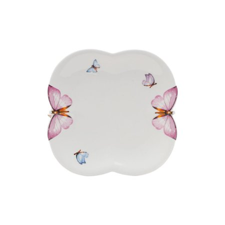 Jogo 6 Pratos Sobremesa Porcelana Borboletas 21,5cm 1168 Wolff