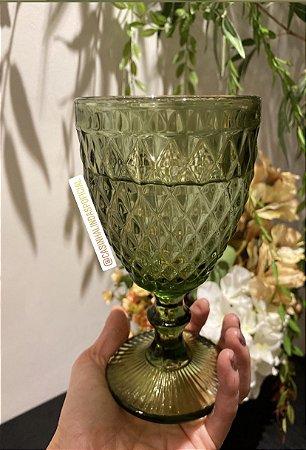Jogo 6 Taças para Água Vidro Bico de Abacaxi Verde 325ml 6465