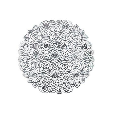 Lugar Americano Plástico PVC Flowers 38cm Prateado 7879