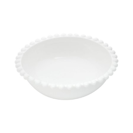 Saladeira Tijela de Porcelana Bolinhas Branca Grande 25x11cm 27569