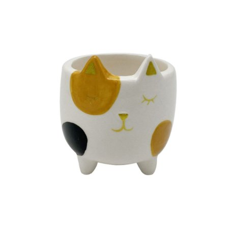 Mini Cachepot Gatinho Painted Eye Branco 6,5x6,5x7cm 44475
