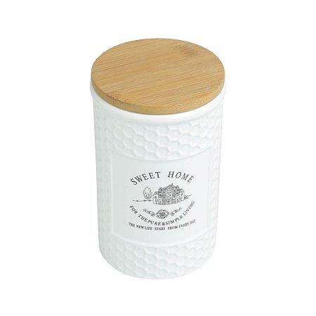 Pote Porcelana com Tampa Madeira 1 Litro Sweet Home 27445