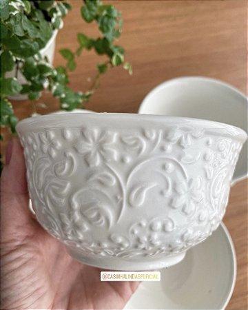 Bowl de Porcelana New Bone Branco Flowers 12,5x6,5cm 8386