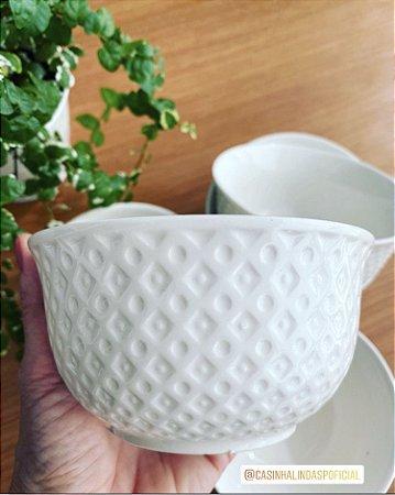 Bowl de Porcelana New Bone Branco Losango 12,5x6,5cm 8390