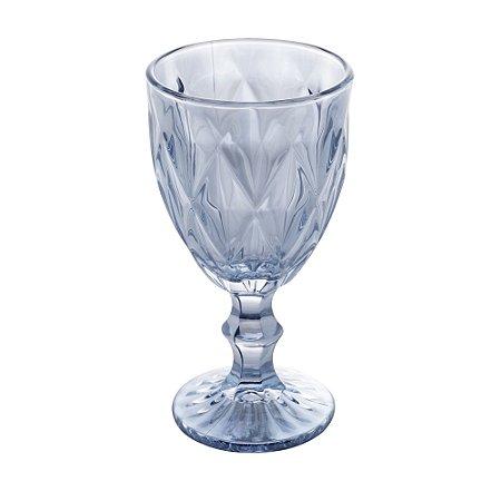 Jogo 6 Taças para Água em Vidro Diamond Azul Claro Metalizado 325ml 1309
