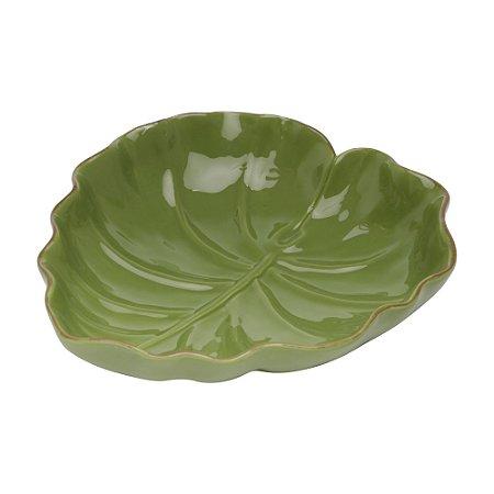 Travessa de Cerâmica Banana Leaf Verde Liso Pequeno 16x15,5x4,5cm 3871