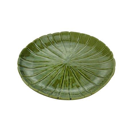 Prato Decorativo de Cerâmica Banana Leaf Verde 24,5cm  - 4480