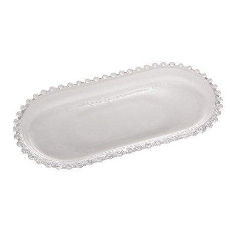 Travessa de Cristal de Chumbo Oval Pearl Bolinhas 30cm 28384