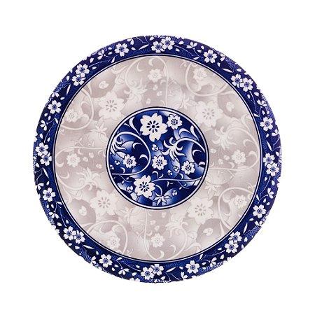 Prato para Sobremesa Porcelana Blue Garden Flat 19,5cm 8594