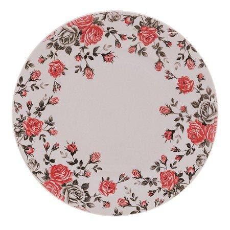Prato para Sobremesa Porcelana Pink Garden Flat 19,5cm 8596