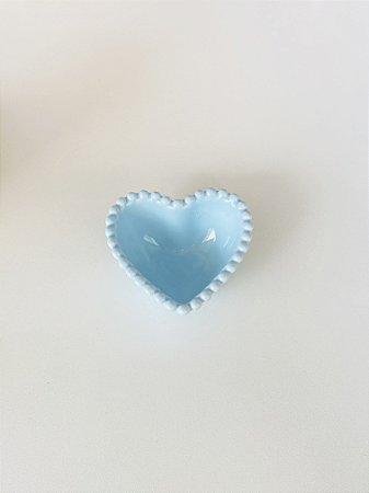 Mini Bowl Coração Pequeno Cerâmica Azul 7,5x7x3cm