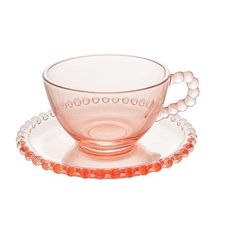 Conj 4 Xícaras Chá com Pires Redondo Rosa Pearl Bolinhas 180ml 28447