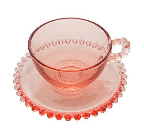 Jogo 4 Xícaras P/ Café Com Pires Cristal Pearl Bolinhas Rosa 80ml 28446