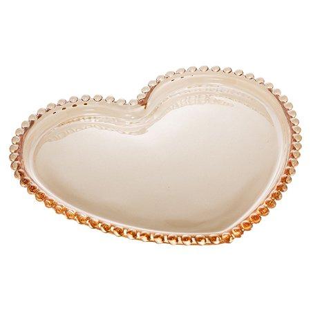 Conj 4 Pratos Sobremesa Cristal Coracao Pearl Bolinhas Âmbar 18x15x2cm 28393