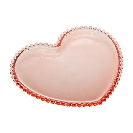 Conj 4 Pratos Sobremesa Coracao Pearl Rosa 18cm 28451
