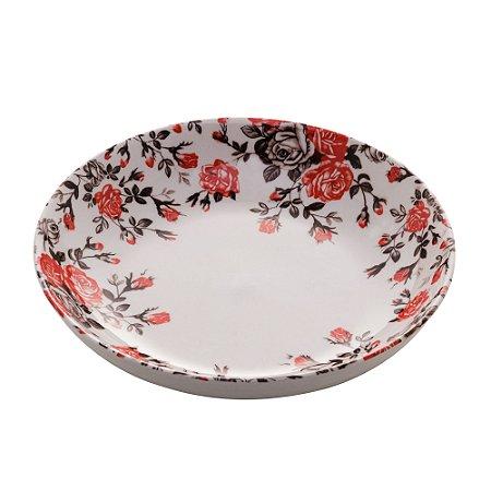 Prato Sobremesa Fundo Porcelana Pink Garden 18x3,5cm 8598