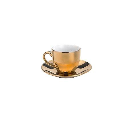 Jogo 6 Xícaras Café com Pires Porcelana Luminus Dourada 90ml 8605